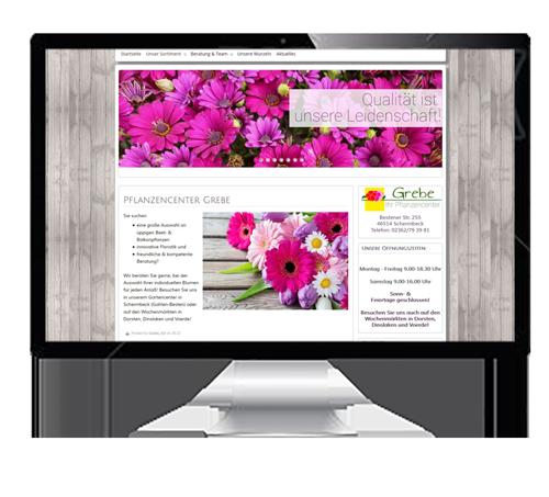 Mock-up mit einer Webseiten-Simulation auf einem Bildschirm