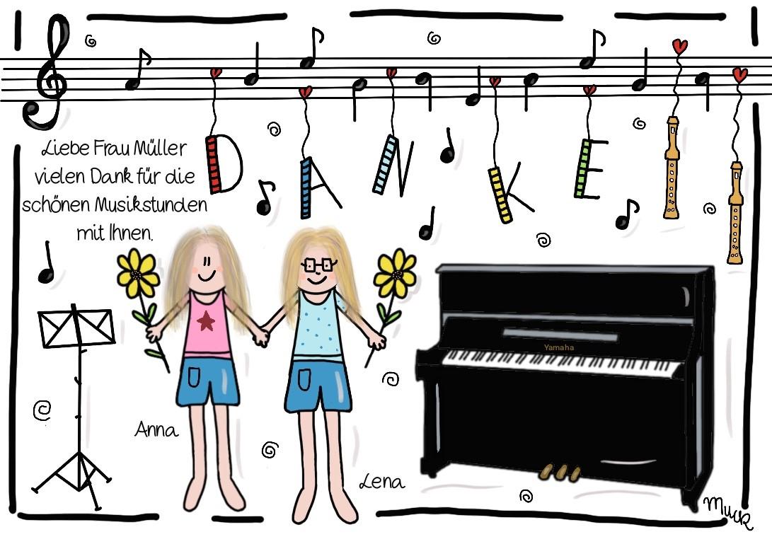 Danke Musiklehrerin - Aufkleber - Claudia Weber - Muck's Arts