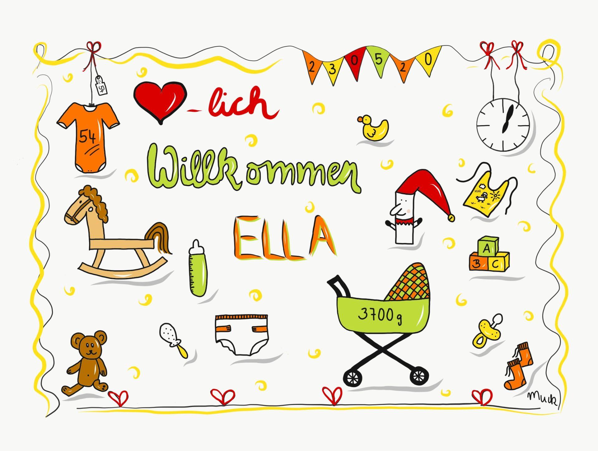 Herzlich Willkommen Ella - Aufkleber - Claudia Weber - Muck's Arts