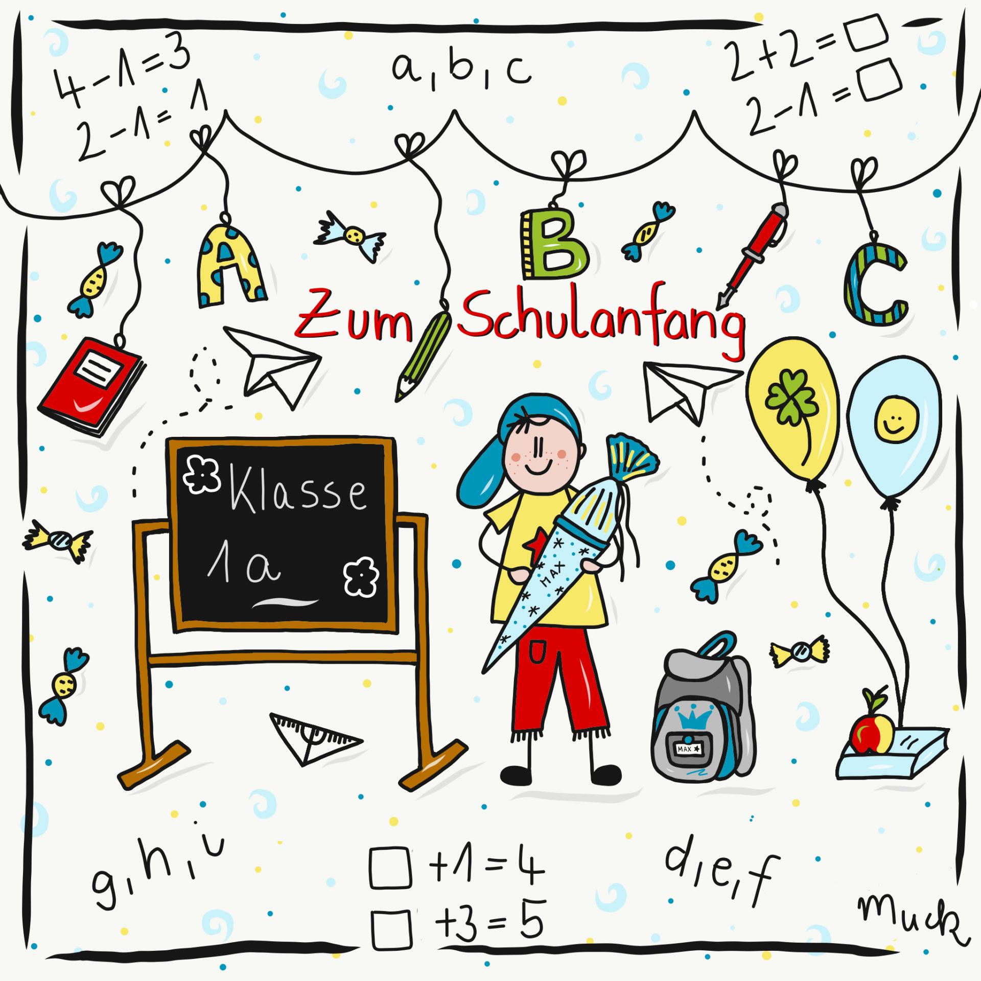 Zum Schulanfang - Aufkleber - Claudia Weber - Muck's Arts
