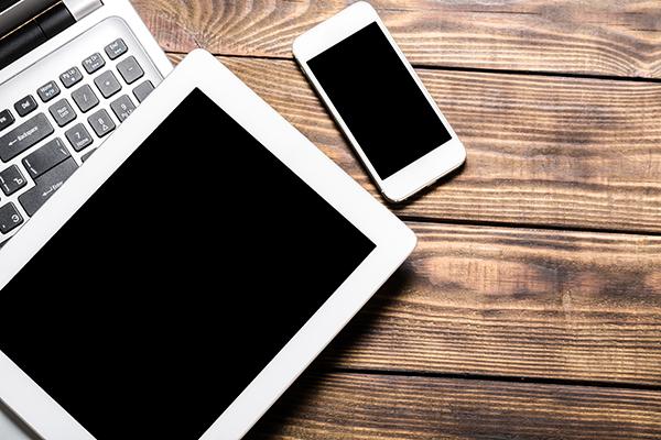 Laptop tablet mockup desk open phone connection